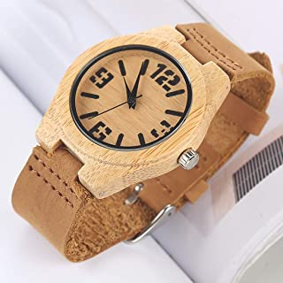Fashion Leather Strap Watches Fashion Personality Small Round Dial Bamboo Shell Watch with Leather Strap (Color : Color2)