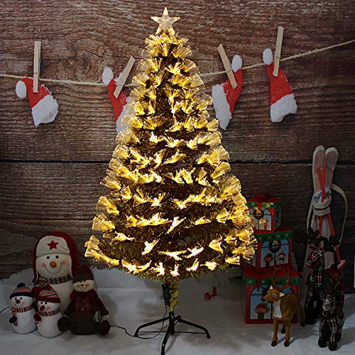 DULPLAY Pre-lit Artificial Christmas Tree Gold LED Lights Optical Fiber Hinged Multicolored Lights Holiday Decoration -a 6Ft(180cm)