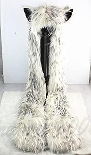 Snow Leopard Faux Fur Hoodie Hat Long Cap with Mittne Scarfs Ears & Paw Print 3 in 1 by HatButik.
