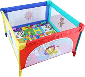 XHJYWL Playpen Colorful for Baby Child Toddler Fold  Small 4-Panel Portable Indoor Outdoor Play Yard with 100 Balls  Size Optional  Size 120x120cm