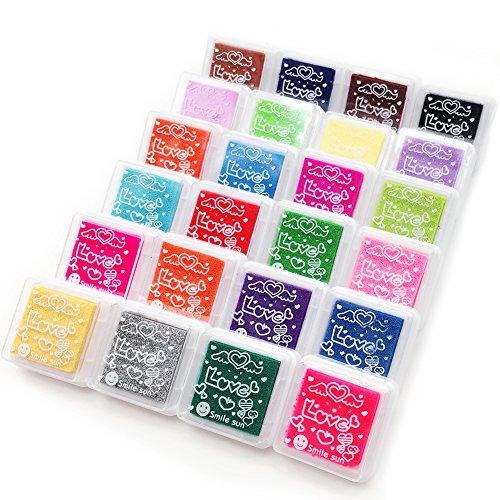 APOGO Tinte Stempel, Stamp Pad Fingerdruck Fuer Papier Handwerk Stoff, Fingerabdruck,Scrapbook, Malerei,Mehrfarbige, 24 Farben Stempelkissen Set