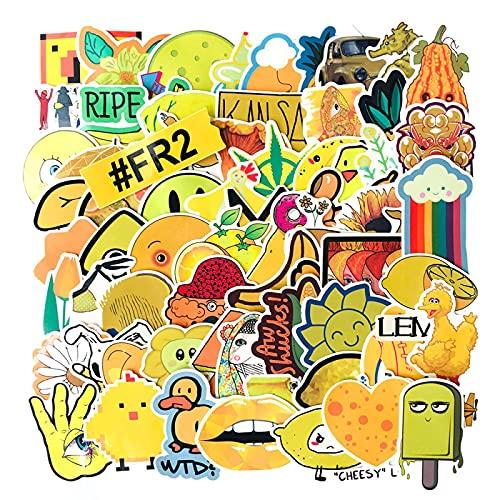 WYZNB 70 unids (estilo amarillo) Pvc pegatina portátil scooter coche maleta decoración pvc impermeable etiqueta niño niña creativo regalo
