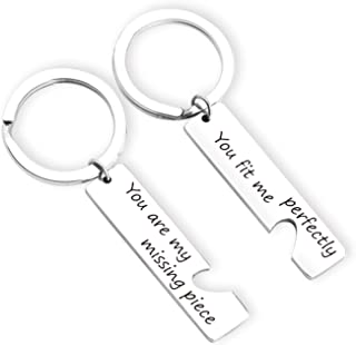 ZNTINA Couples Puzzle Piece Keychains Keyring Puzzle Jewelry Couple Gift You are My Missing Piece,You Fit Me Perfectly (KR- Missing Piece Heart)