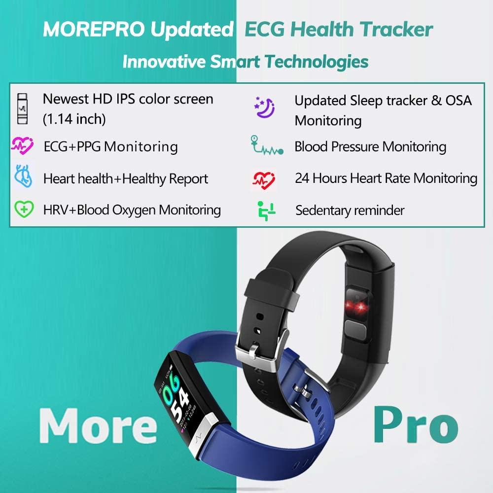 MorePro Heart Rate Monitor Blood Pressure Fitness Activity Tracker with Low O2 Reminder, IP68 Waterproof Smart Watch with HRV Sleep Health Monitor Smartwatch for Android iOS Phones