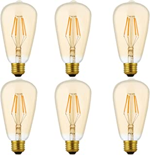 6X E27 Filamento LED 4W Dimmable Bombilla Edison Retro ST64 Bombilla de Tungsteno 400LM Blanco Cálido 2200K LED de Edison AC 220V