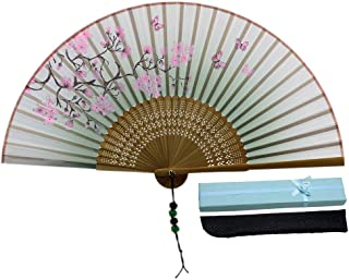 JSSWB Green Handmade Silk Bamboo Hand Fan with Blomming Flowers Painting