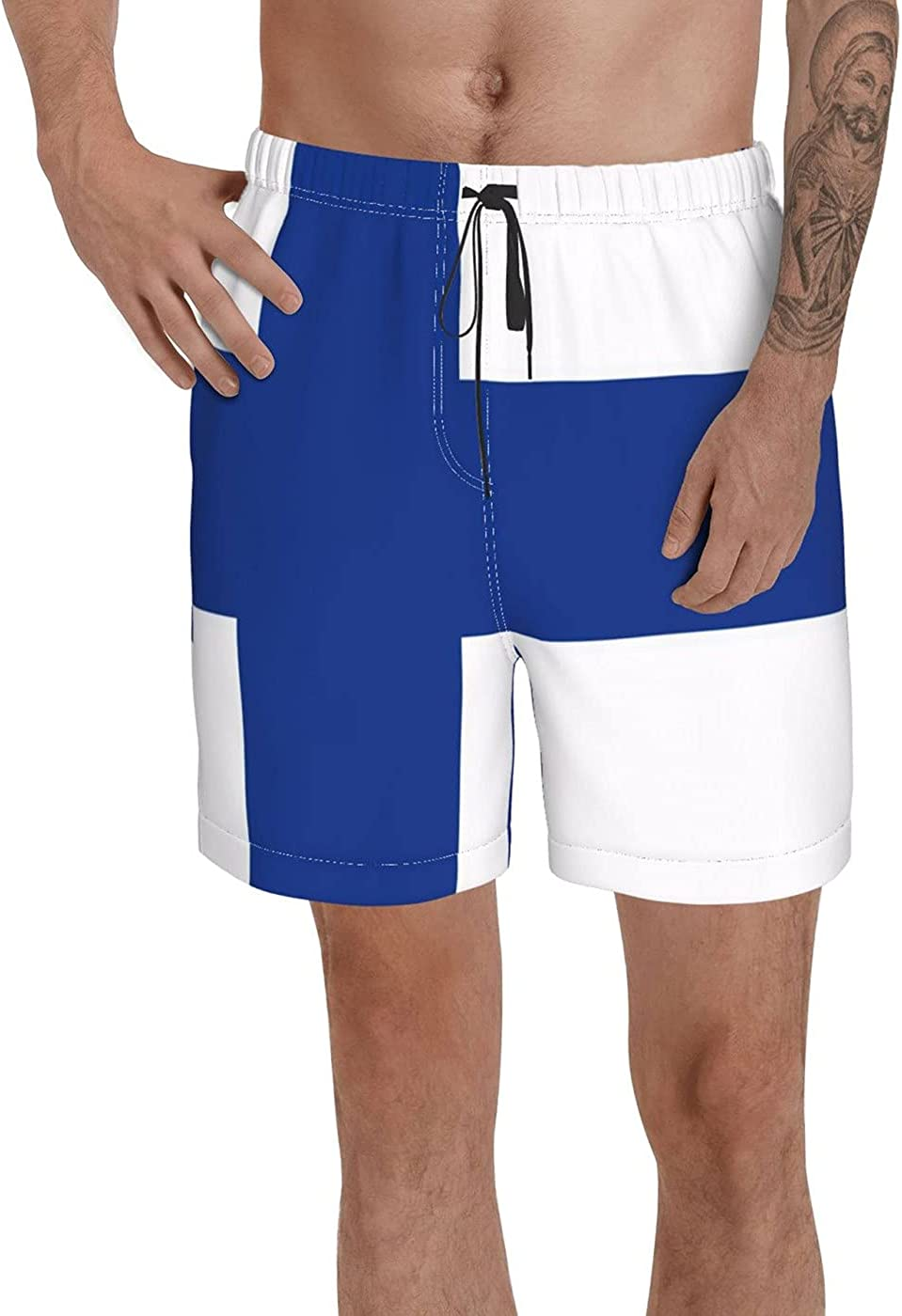 Count Finland Flag Men's 3D Printed Funny Summer Quick Dry Swim Short Board Shorts with