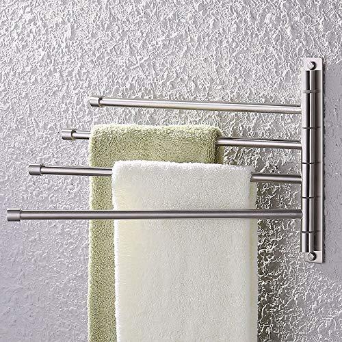 KES Swivel Towel Bar SUS 304 Stainless Steel 4-Arm Bathroom Swing Hanger Towel Rack Holder Storage...
