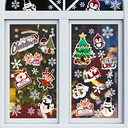 Eokeanon Calcomanías de Navidad, La ventana de Navidad, Etiqueta de la pared de Navidad Pegatinas de ventana de copo de nieve,...