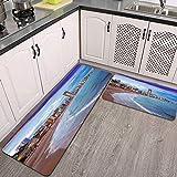Juegos de alfombras de Cocina,Iluminación Nocturna de Alicante de la Ciudad de Benidorm con viviendas Modernas y Costa,Antideslizantes Lavables de 2 Piezas Alfombra súper Absorbente