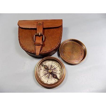 Brass Maritime Vintage Style Pocket Compass Nautical Strap w// Leather Case Decor
