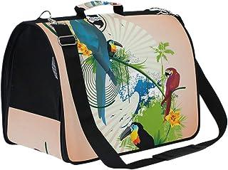 青赤黒鳥オウムパターンペット猫犬キャリアスリングバッグ 航空会社は旅行用の小さな袋を承認しました子犬子猫パグ