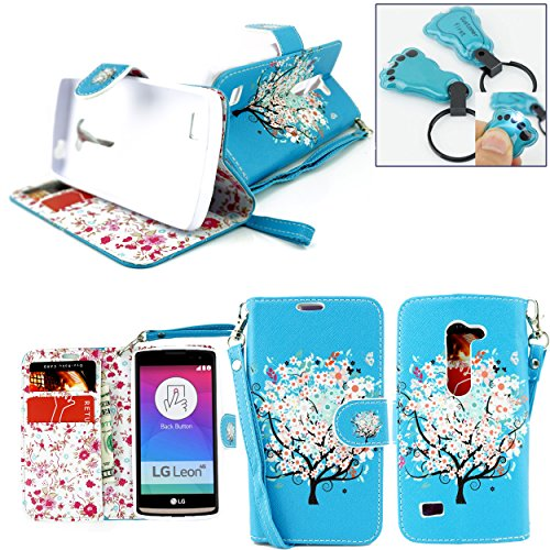 Customerfirst for LG Leon LTE Case/LG Power L22C (Straight Talk/Metro PCS/T-Mobile/at&T) Wallet Pouch for LG Leon LTE Case (C40 / H320) (TracFone / NET10) / Destiny L21G + Keychain (Blue Tree)
