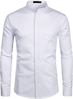 ZEROYAA Men`s Banded Collar Slim Fit Long Sleeve Casual Button Down Dress Shirts with Pocket