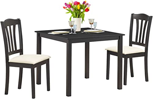 2021 Giantex 3 Pcs Dining Table Set with 2 Upholstered popular Chairs Wood Dining Kitchen Table Set, Home Furniture Set (Coffee & online sale Beige) outlet online sale