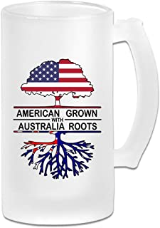 American Grown With Australia Roots Frosted Glass Stein Beer Mug - Personalized Custom Pub Mug - 16 Oz Beverage Mug - Gift For Your Favorite Beer Drinker