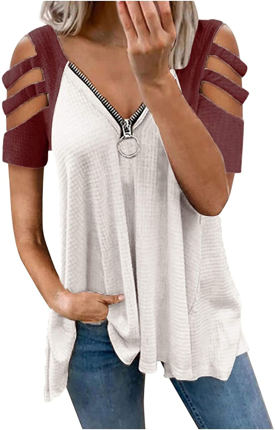 Tunic Tops for Women Casual Summer,Womens Casual V Neck T Shirts Roll Up Short Sleeve Loose Solid Color Tunic Casual Plus Size Basic Tees Henley Tops