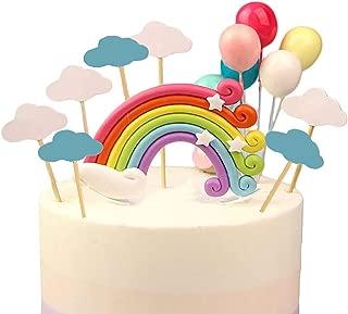 GEORLD Colorful Rainbow Cake Topper Birthday Wedding Cake Flags Cloud Balloon cake flag Birthday Party Baking Decoration Supplies