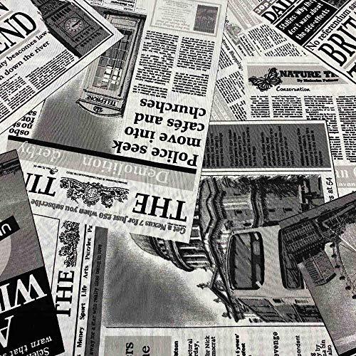 Kt KILOtela Tela de loneta Estampada - Retal de 100 cm Largo x 280 cm Ancho | Periódico - Blanco, Negro ─ 1 Metro