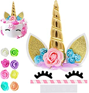 Best Unicorn Cake Topper, Reusable Unicorn Horn, Ears, Eyelashes and Flowers Party Cake Decoration for Birthday Party, Baby Shower, Wedding Review