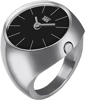 Davis - Ring Watch 2000S - Anello Orologio Donna Vetro Zaffiro Bombato Quadrante Nero Indici barretta - Misura 52