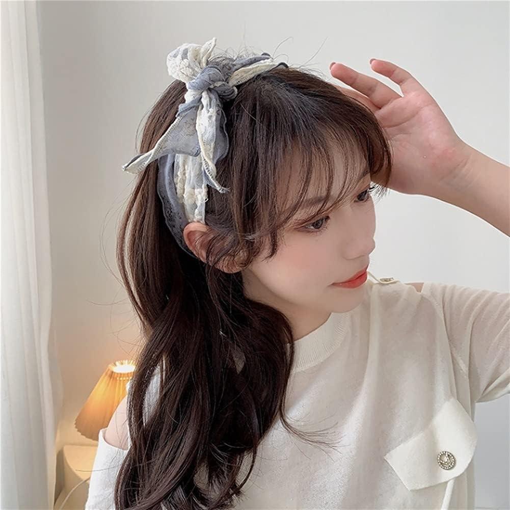 XKAOL Hairpins Silk Scarf Headband Female Tied Hair Summer Fairy Temperament Bow Tie Headband Salary Braided Hair Headband (Color : D)