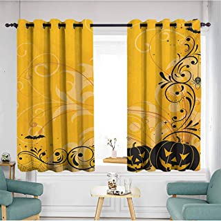 Thermal Insulating Blackout Curtains,Halloween Carved Pumpkins with Floral Patterns Bats and Web Horror Jack o Lantern Artwork,Space Decorations,W72x45L,Orange Black