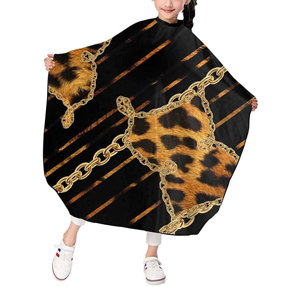 Haircut Cape Leopard Print And Golden Chain Black Background Creative Hairdressing Apron Polyester Water Resistant Hair Cutting Cape