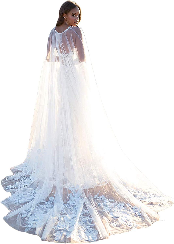 3 Meters White Lace Capes Appliques Tulle Long Wedding Cape Veils for Bride