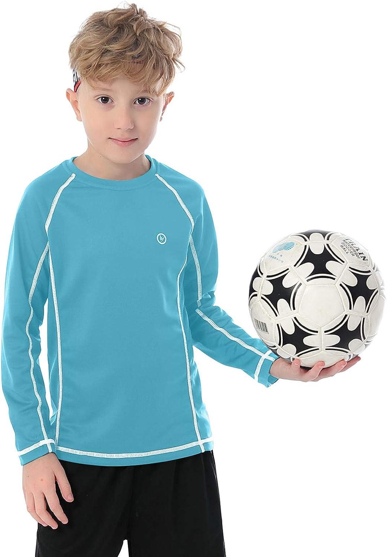 DAYOUNG Boys Long Sleeve T-Shirts Tagless Crewneck Youth Tops Performance Workout Active UPF 50+ Tee Shirt