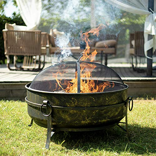 CO-Z 31-Inch Outdoor Fire Pit | Large Round Wood Burning Fire Pit | Brass Cauldron Portable Fire Pit for Outside Patio Backyard Camping Bonfire More with Metal Grate, Screen, Fireplace Poker