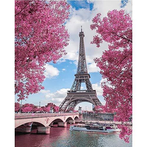JXWH Torre del paisaje5D DIY Pintura Diamante Bordado Punto de Cruz Cuadros Lienzo Pared Decoración40cmX50cm
