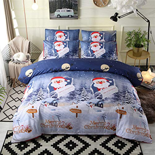 RENXR Merry Christmas Design Very Soft Fabric 3PCS Duvet Cover Set Kids Xmas Bedding Sets Include 1 Duvet Cover, 2 Pillowcases, Gift for Xmas,Full