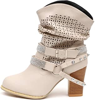 ZODOF Botas de Mujer Botas Retro Navidad Boots Tooling para
