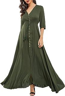 Women's Button Up V Neck Half Sleeve Split Flowy Plain Party Maxi Dress