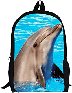 Cute Dolphin Printed Kids School Backpack for Teenagers Boys Girls Camping Bag