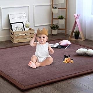 Nursery Rug, Children Baby Toddler Rugs for Living Room Bedroom Play Mat Floor Mat Foam Mat Japanese Tatami Mat Yoga Mat Thick Soft Cozy Non-Toxic Easy to Clean, Coffee, 79 by 98 Inch