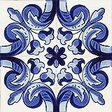 Cerames Asturia - Azulejos azules de talavera de 10 x 10 cm Paquete de 30 azulejos