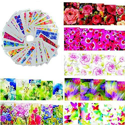 Gespout 50PCS Nail Art Autocollant Deco Nail Art Lot Fleur Rose Stickers Pour Ongles Nail Outils Artistiques Différents Modèles