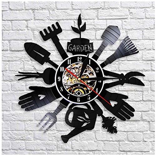 Liafa Gartengeräte Wanduhr Küche Wanddekor Grubber Schallplatte Wanduhr Uhr Gewächshaus Einweihungsparty Geschenk Für Gärtner Keine Led