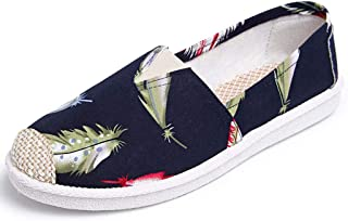 Women's Pretty Canvas Loafers Slip On Lovely Cartoon Painting Casual Comfort Driving Walking Moccasins Shoes