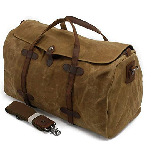 8e70c994dba2 S-ZONE Waterproof Waxed Canvas Leather Trim Travel Tote Duffel Handbag  Weekend Bag