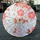 女性の雨傘傘風水シルクダンス装飾竹アンブレラオイルペーパー傘日傘 (Color : Deep Khaki)