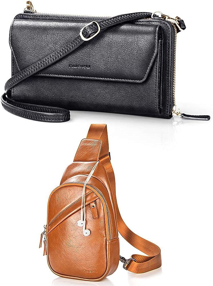 nuoku Women Black RFID Wallet Purse Wristlet Crossbody Clutch +Brown Sling bag for Men