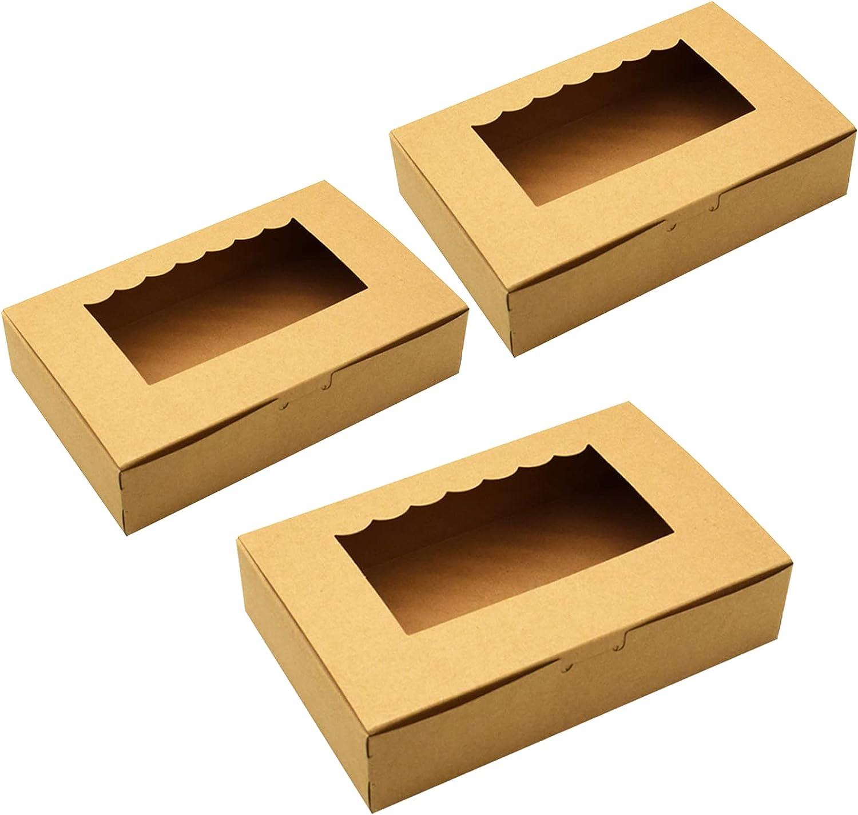 Tomedeks Caja De Pastel De Papel Natural De 12 Piezas, Utilizada Para Cupcakes Y Macarons, Puede Contener 6 Cupcakes 21.5 * 13.5 * 5cm