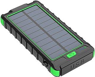 balikha 10 000 mAh Solar Power Bank 2 USB-port säker batteriladdare - grön
