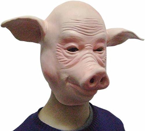 JTWJ Fournitures de Spectacle Masvoitureade Visage de Cochon HalFaibleeen Masque tête de Cochon Masque Masque de Cochon Chauve