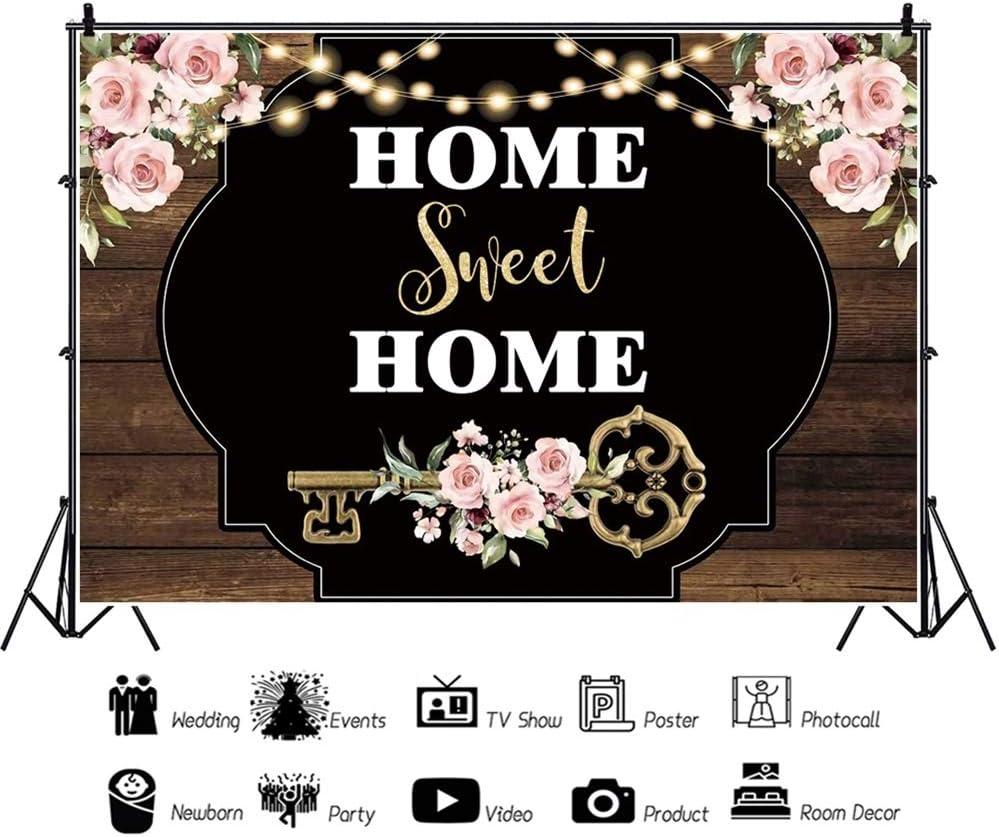Leowefowa 7x5ft Romantic Home Sweet Home Backdrop Vinyl Rustic Bridal Shower Housewarming Party Photography Background Retro Wood Plank Key Elegant Flowers Party Banner Studio Props