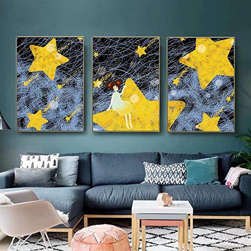 dsdsgog Dibujos Animados Meteor Shower Girl Posters e Impresiones Nursery Baby Wall Art Pictures Pinturas en Lienzo para habitación de bebé Decoración nórdica para el hogar-50x70cm 3 Piezas Sin Marco