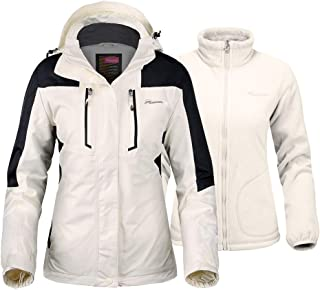 OutdoorMaster Women's 3-in-1 Ski Jacket - Winter Jacket Set with Fleece Liner Jacket & Hooded Waterproof Shell - for Women